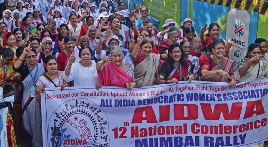 Safeguard Our Constitution, Uphold Women's Rights – All Together, Fight Together, Forward Together""