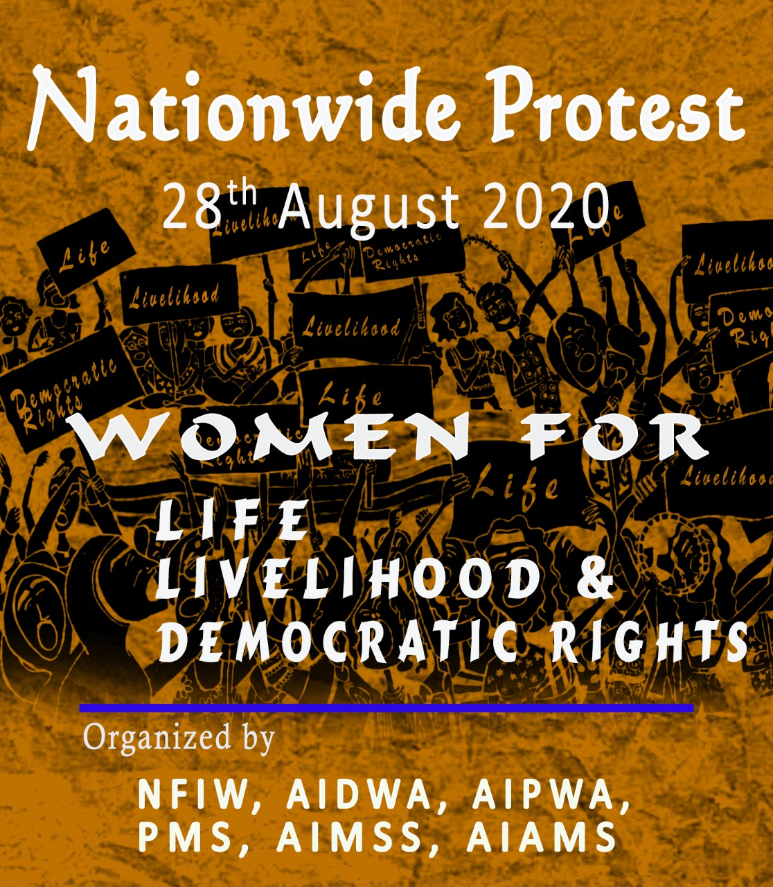 WOMEN FOR LIFE, LIVELIHOOD& DEMOCRATIC RIGHTS Call for Nationwide Proteston 28th August 2020