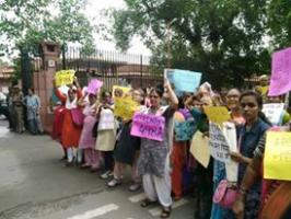 Women Protest Outside Supreme Court Against  Dilution Of Section 498A